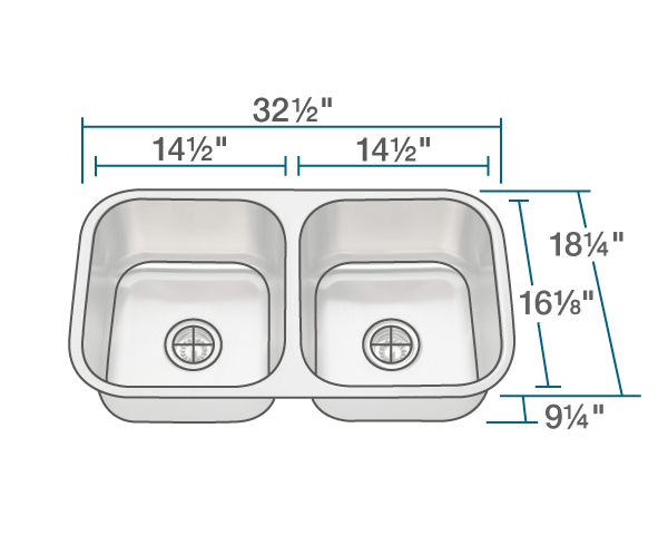 "The dimensions of 502A Double Bowl Stainless Steel Kitchen Sink is 32 1/2"" x 18 1/4"" x 9 1/4"". Its minimum cabinet size is 33""."