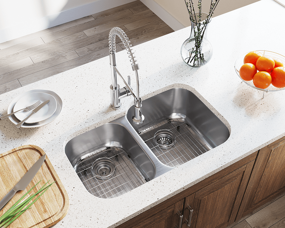 503R Lifestyle Image: 304-Grade Stainless Steel Undermount Rectangle Two Bowls Kitchen Sink