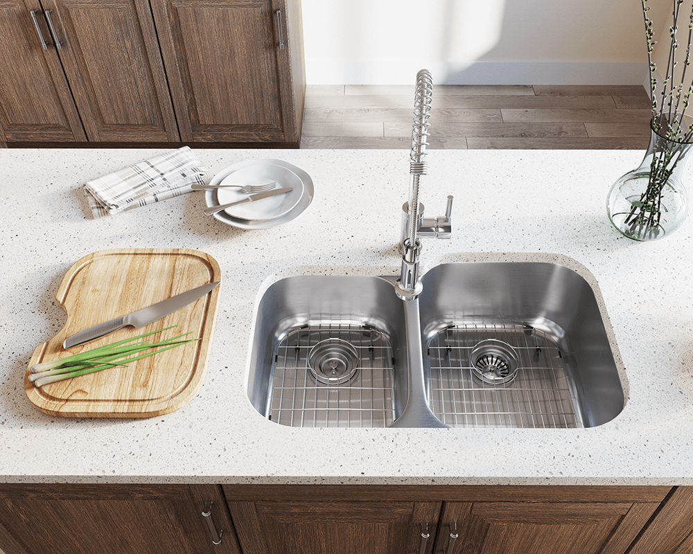 503R Lifestyle Image: 304-Grade Stainless Steel Rectangle Undermount Two Bowls Kitchen Sink
