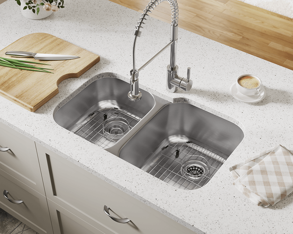 503R Lifestyle Image: 304-Grade Stainless Steel Rectangle Two Bowls Undermount Kitchen Sink