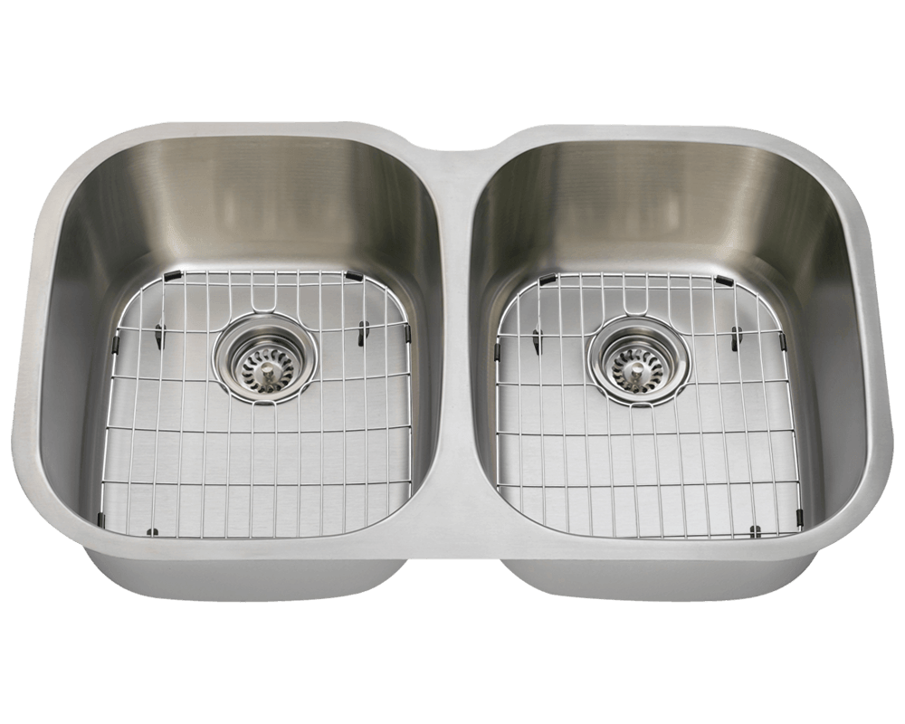 504 Alt Image: 304-Grade Stainless Steel Square Two Bowls Undermount Kitchen Sink