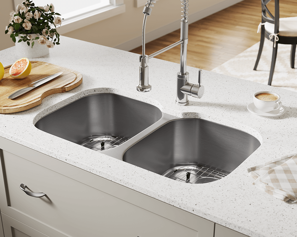 504 Lifestyle Image: 304-Grade Stainless Steel Square Undermount Two Bowls Kitchen Sink