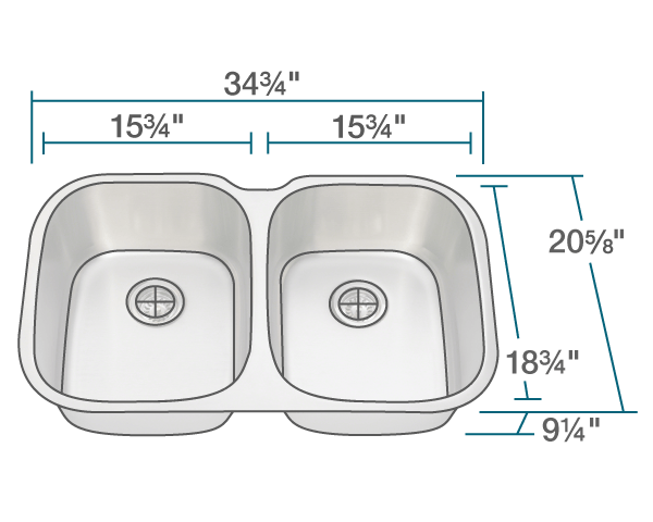 "The dimensions of 504 Large Stainless Steel Kitchen Sink is 34 3/4"" x 20 5/8"" x 9 1/4"". Its minimum cabinet size is 36""."