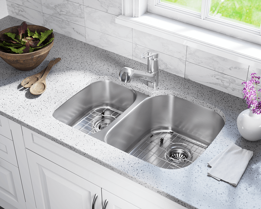 506R Lifestyle Image: 304-Grade Stainless Steel Rectangle Two Bowls Undermount Kitchen Sink