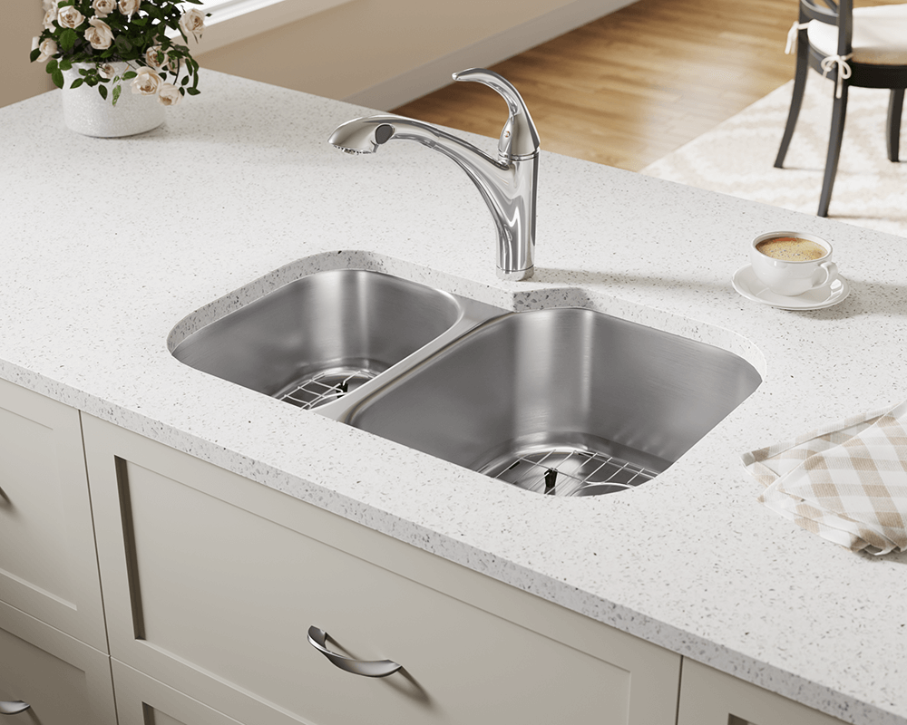 506R Lifestyle Image: 304-Grade Stainless Steel Rectangle Undermount Two Bowls Kitchen Sink