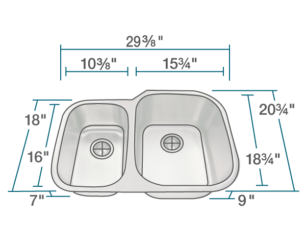 "The dimensions of 506R Stainless Steel Kitchen Sink is 29 3/8"" x 20 3/4"" x 9"". Its minimum cabinet size is 30""."