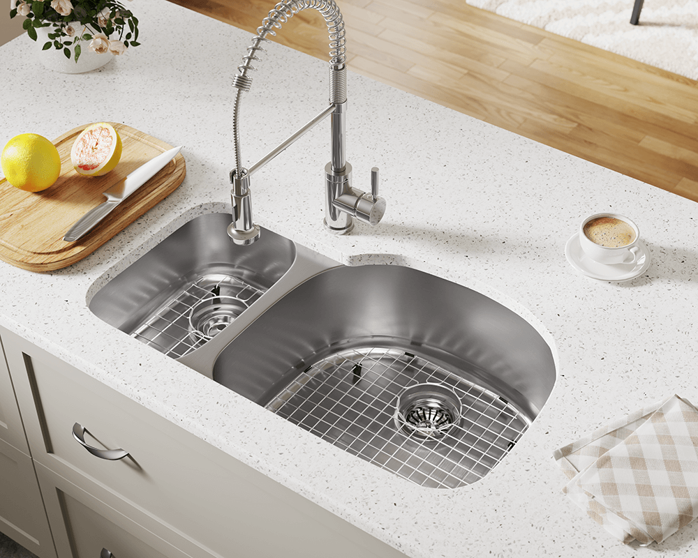 509R Lifestyle Image: 304-Grade Stainless Steel Rectangle Two Bowls Undermount Kitchen Sink