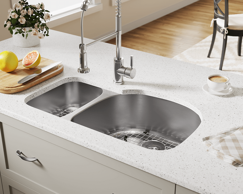 509R Lifestyle Image: 304-Grade Stainless Steel Rectangle Undermount Two Bowls Kitchen Sink
