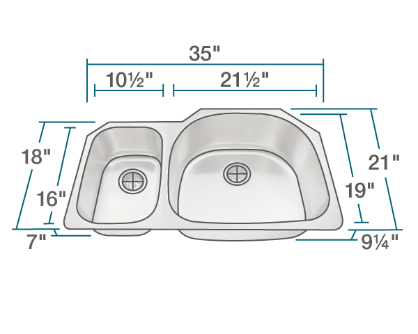 "The dimensions of 509R Offset Stainless Steel Kitchen Sink is 35"" x 21"" x 9 1/4"". Its minimum cabinet size is 36""."