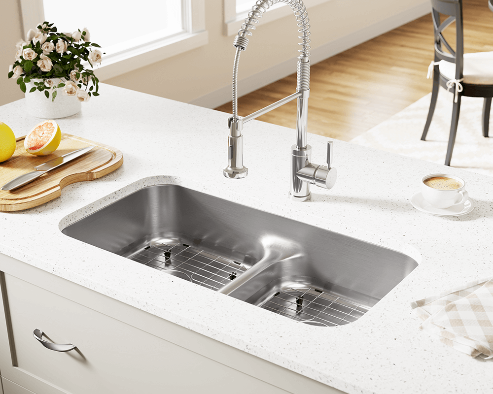 512 Lifestyle Image: 304-Grade Stainless Steel Rectangle Undermount Two Bowls Kitchen Sink