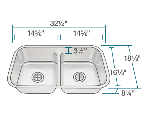 "The dimensions of 512 Half Divide Stainless Steel Kitchen Sink is 32 1/2"" x 18 1/8"" x 8 1/4"". Its minimum cabinet size is 33""."
