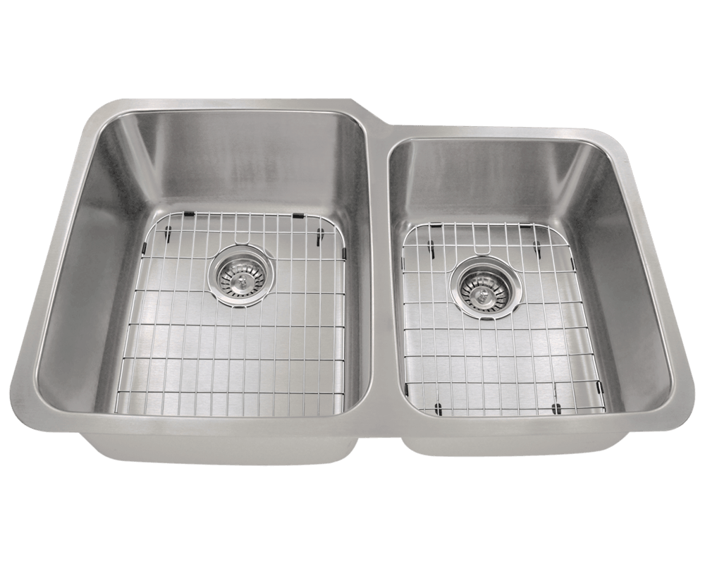 513L Alt Image: 304-Grade Stainless Steel Rectangle Undermount Two Bowls Kitchen Sink