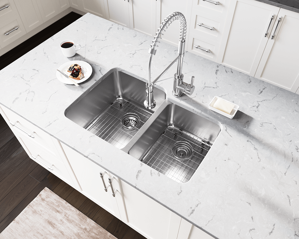 513L Lifestyle Image: 304-Grade Stainless Steel Rectangle Two Bowls Undermount Kitchen Sink