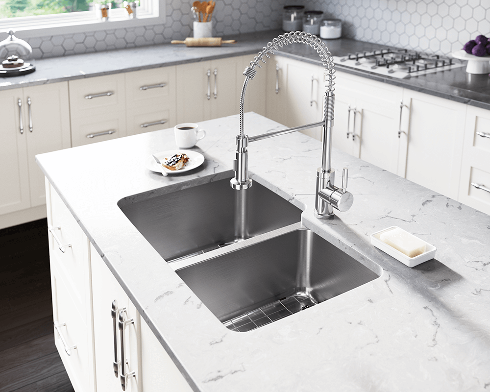 513L Lifestyle Image: 304-Grade Stainless Steel Rectangle Undermount Two Bowls Kitchen Sink