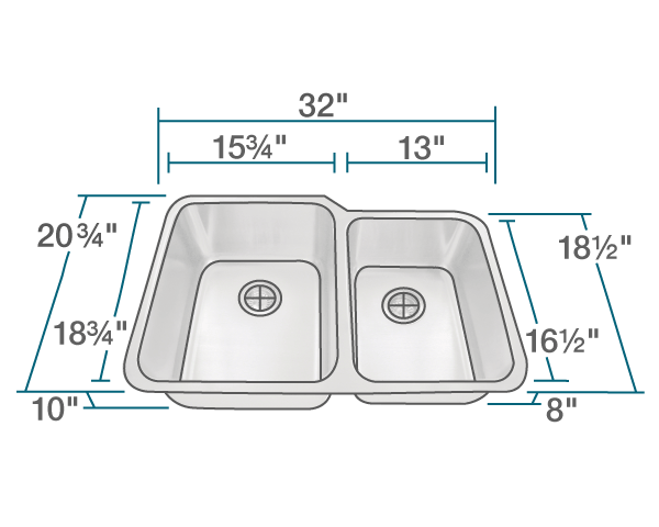 "The dimensions of 513L Offset Double Bowl Stainless Steel Sink is 32"" x 20 3/4"" x 10"". Its minimum cabinet size is 33""."