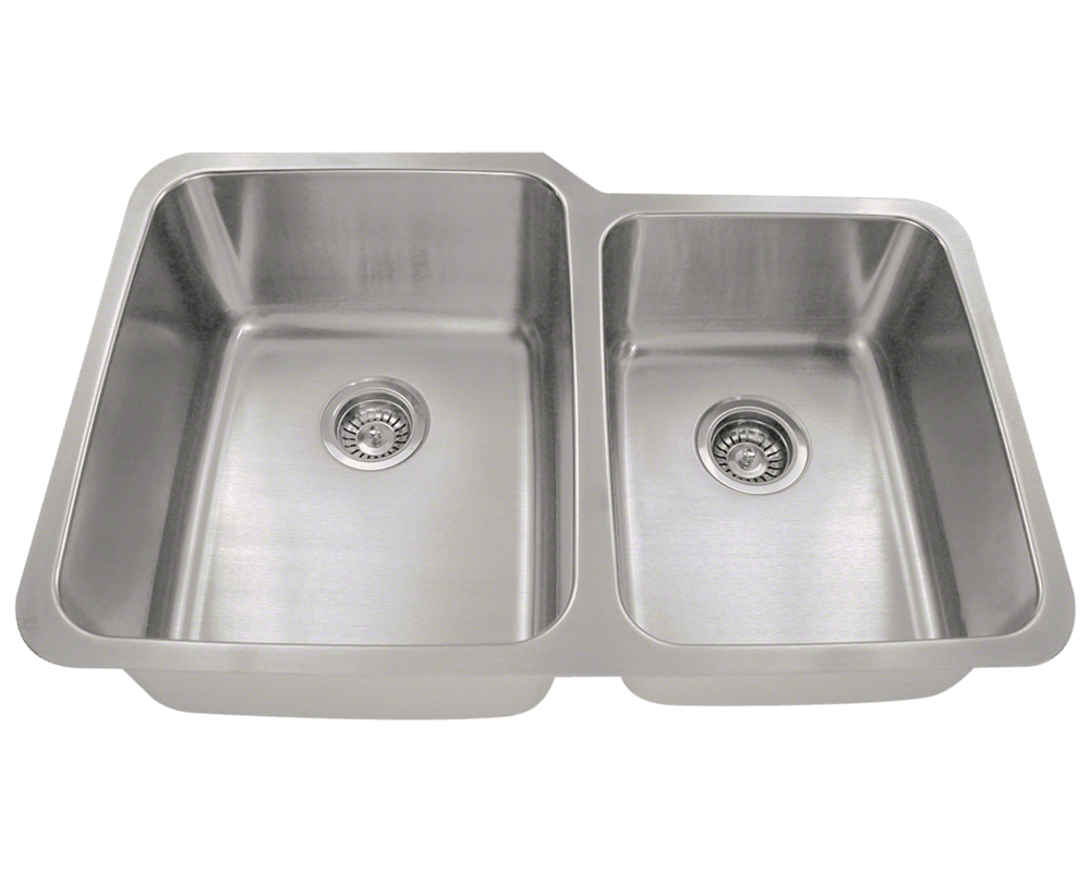 MR Direct 513L Offset Double Bowl Stainless Steel Sink