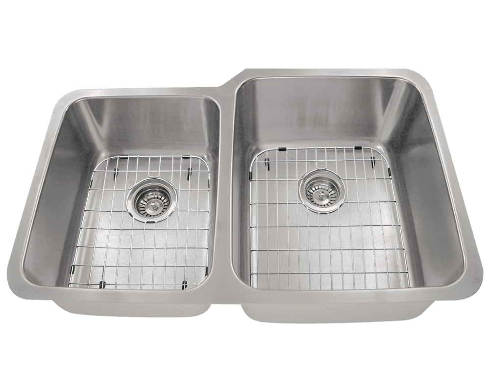 513R Alt Image: 304-Grade Stainless Steel Rectangle Undermount Two Bowls Kitchen Sink