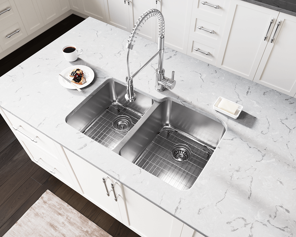 513R Lifestyle Image: 304-Grade Stainless Steel Rectangle Two Bowls Undermount Kitchen Sink