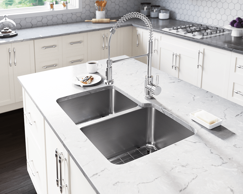 513R Lifestyle Image: 304-Grade Stainless Steel Rectangle Undermount Two Bowls Kitchen Sink