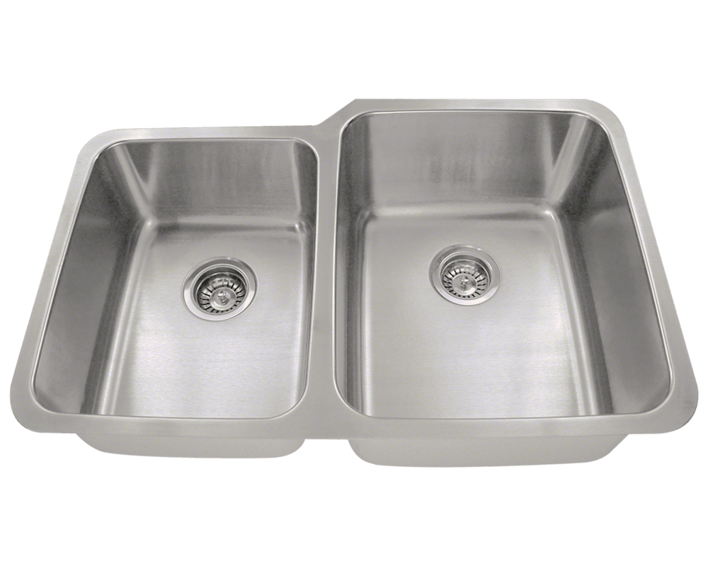 MR Direct 513R Offset Double Bowl Stainless Steel Kitchen Sink