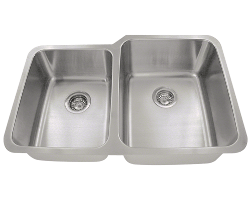 MR Direct 513R 513R Offset Double Bowl Stainless Steel Kitchen Sink