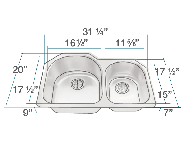 "The dimensions of 532L Offset Stainless Steel Kitchen Sink is 31 1/4"" x 20"" x 9"". Its minimum cabinet size is 33""."