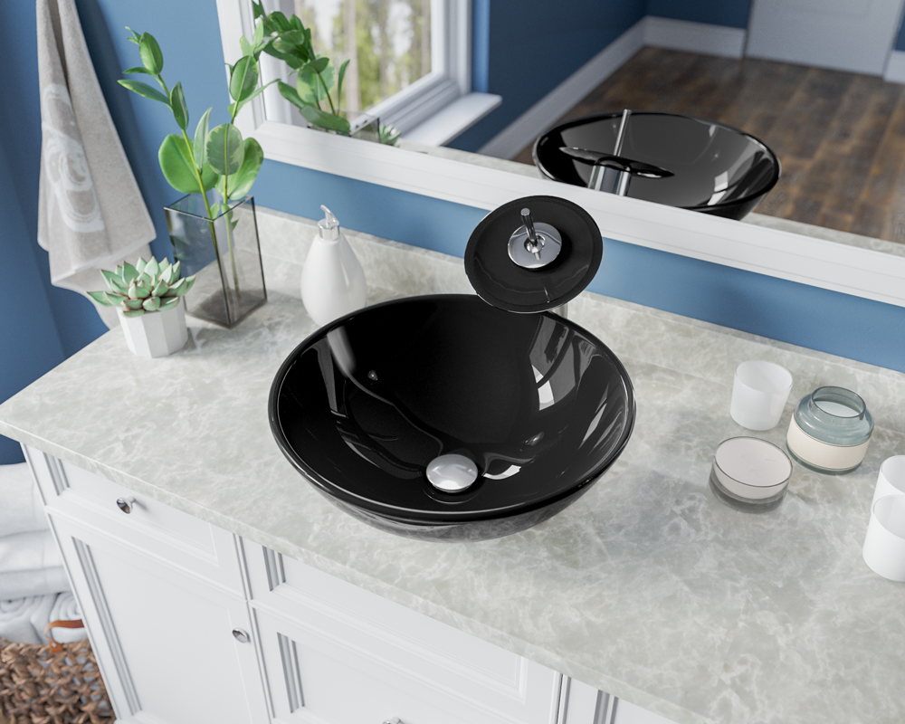 601-Black Lifestyle Image: Fully Tempered Glass Round Black Vessel Bathroom Sink