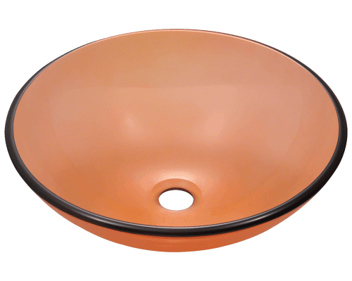 601-Coral Colored Glass Vessel Sink