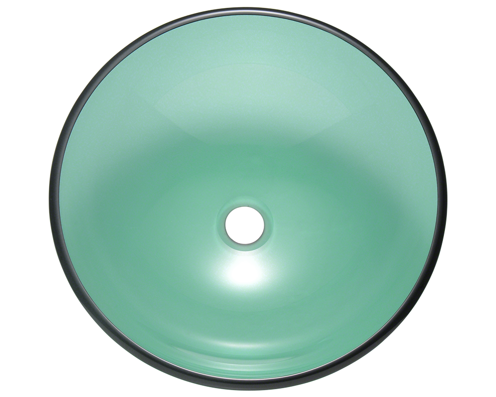 601-Emerald Alt Image: Fully Tempered Glass Round Vessel Green Bathroom Sink