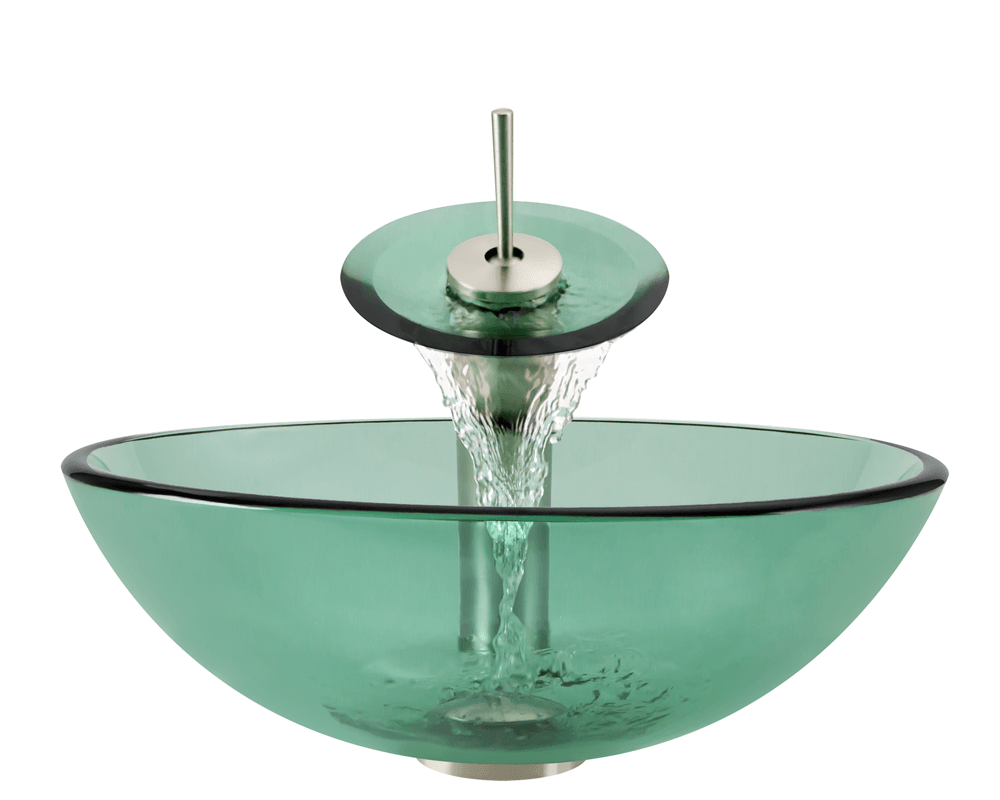 601-Emerald Alt Image: Fully Tempered Glass Green Vessel Round Bathroom Sink