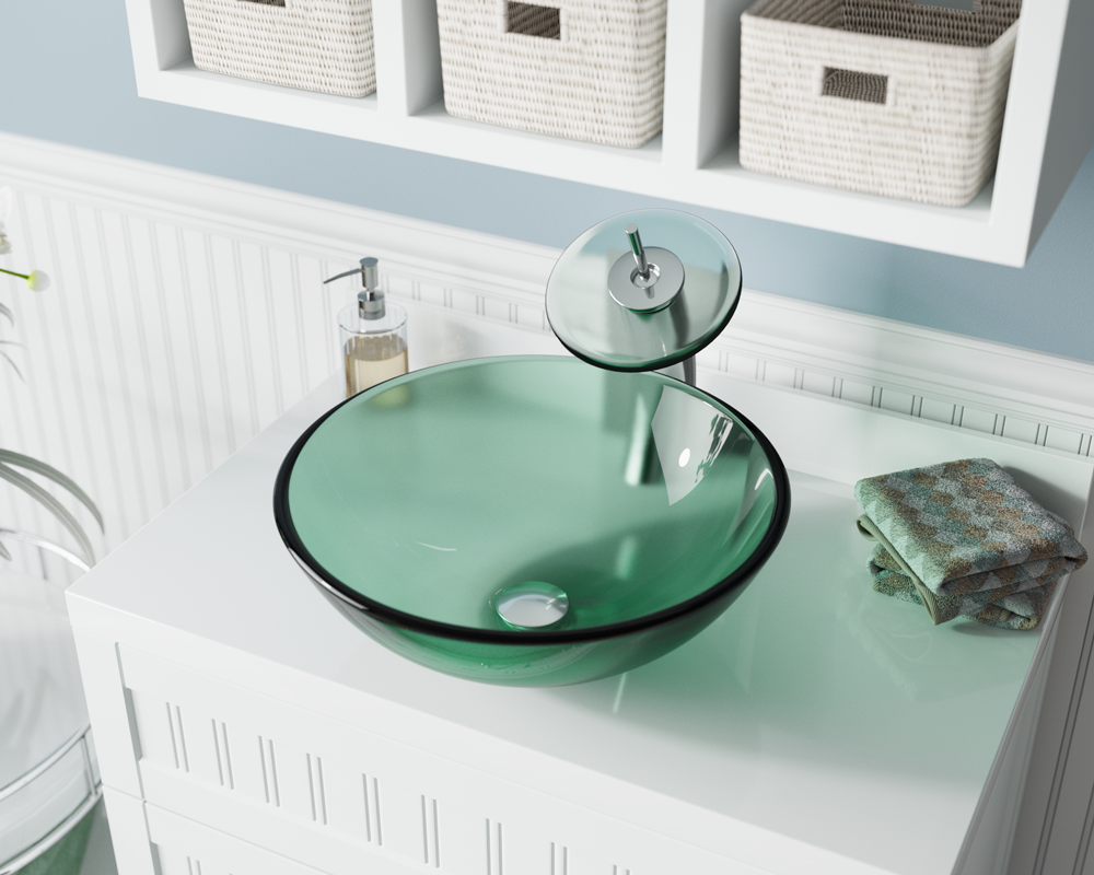 601-Emerald Lifestyle Image: Fully Tempered Glass Round Green Vessel Bathroom Sink