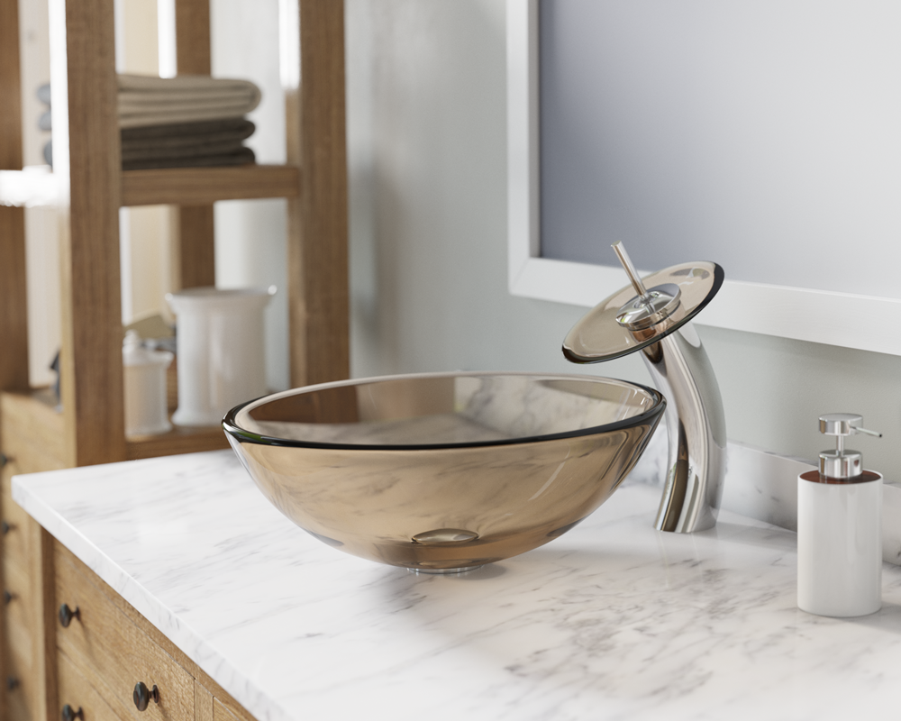 601taupe colored glass vessel sink - Glass Vessel Sinks