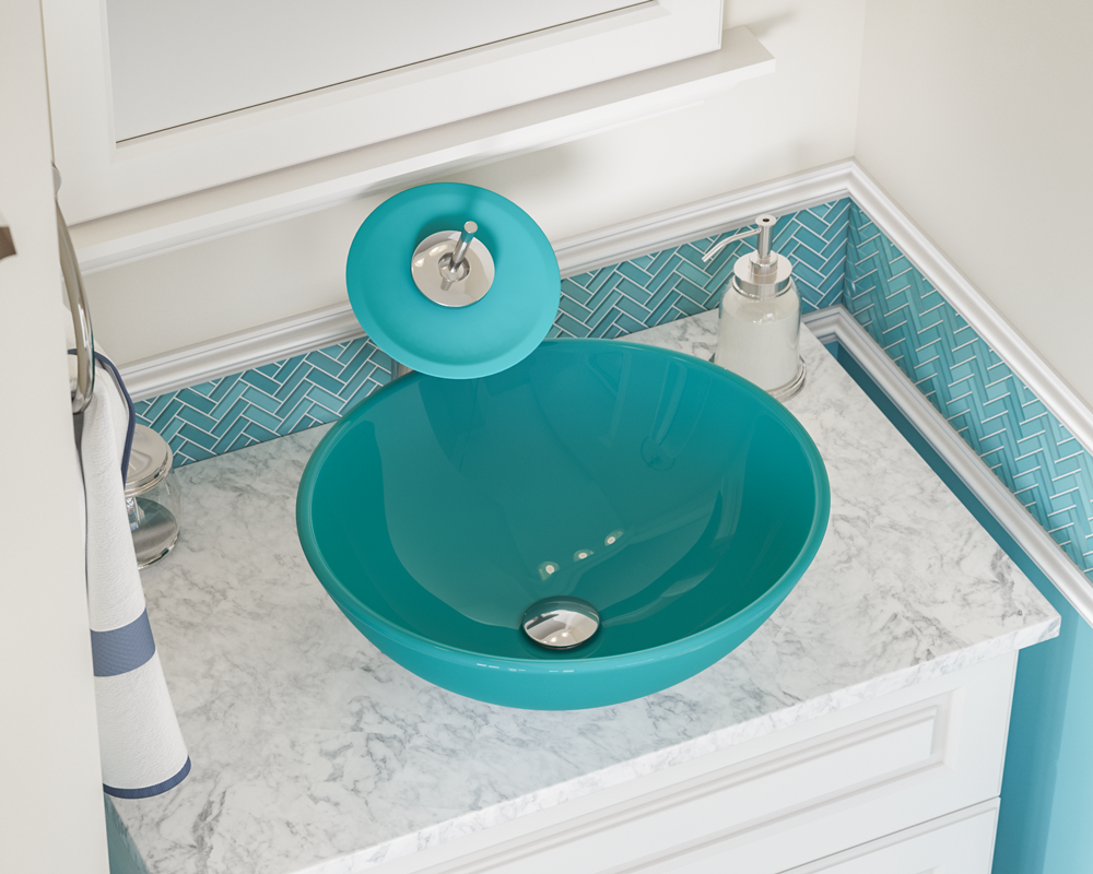 601-Turquoise Lifestyle Image: Fully Tempered Glass Round /Green Vessel Bathroom Sink