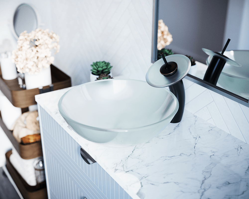 602 Frosted Glass Vessel Sink