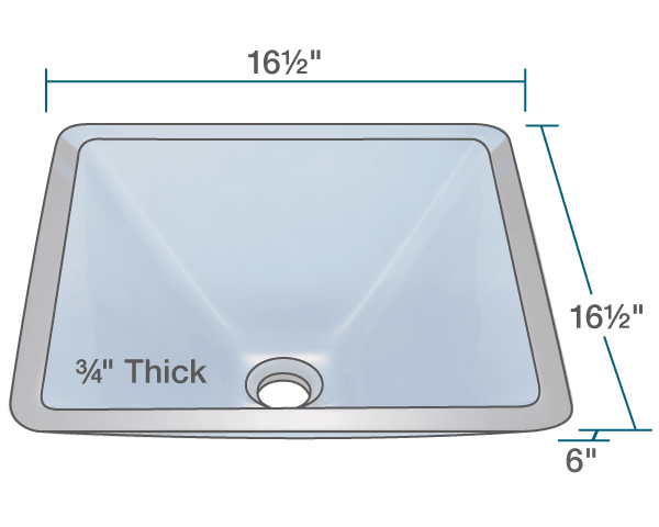 "The dimensions of 603-Aqua Colored Glass Vessel Sink is 16 1/2"" x 16 1/2"" x 6"". Its minimum cabinet size is 18""."