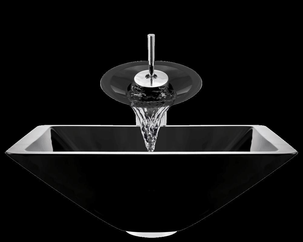 603 Black Dark Colored Glass Vessel Sink