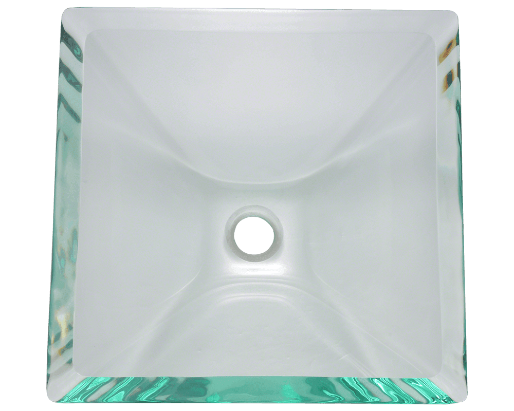 603-Crystal Alt Image: Fully Tempered Glass Square Vessel Clear Bathroom Sink