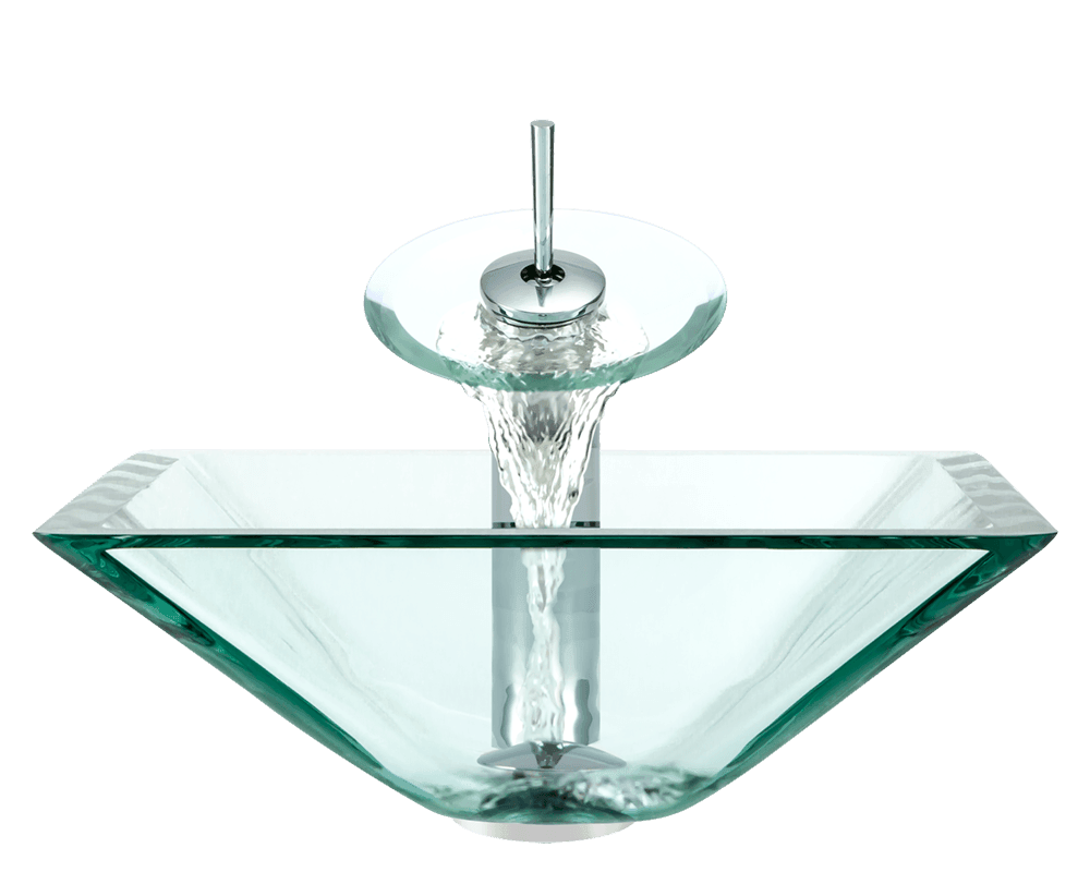 603-Crystal Alt Image: Fully Tempered Glass Clear Vessel Square Bathroom Sink