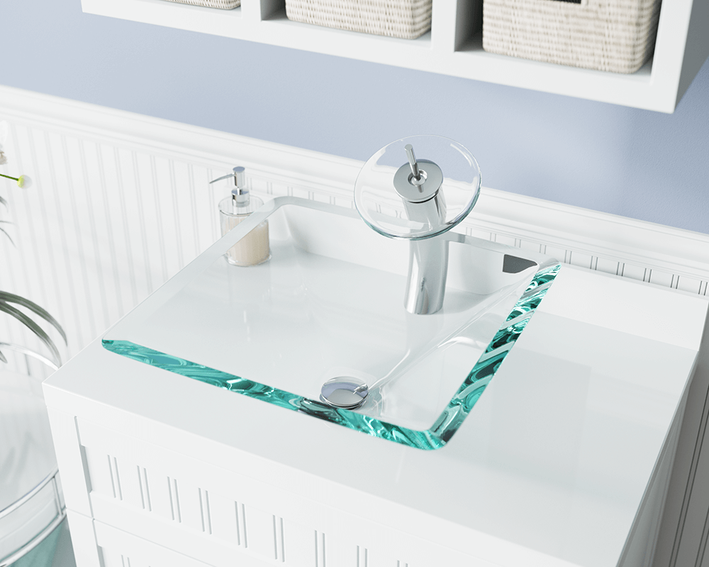 603-Crystal Lifestyle Image: Fully Tempered Glass Square Clear Vessel Bathroom Sink