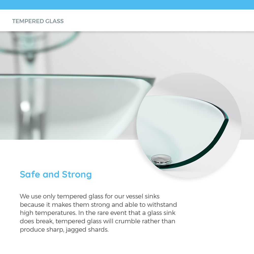 Close-up of tempered glass in vessel sink