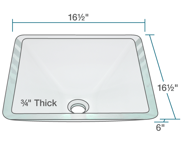 "The dimensions of 603-Crystal Glass Vessel Sink is 16 1/2"" x 16 1/2"" x 6"". Its minimum cabinet size is 18""."