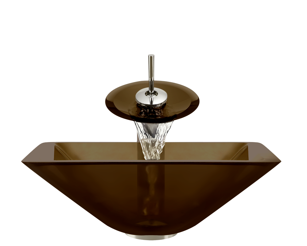 603-Taupe Alt Image: Fully Tempered Glass Brown Vessel Square Bathroom Sink