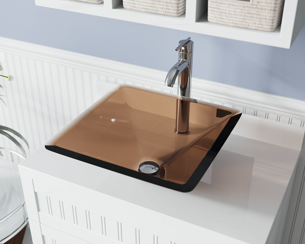 603-Taupe Lifestyle Image: Fully Tempered Glass Square Brown Vessel Bathroom Sink