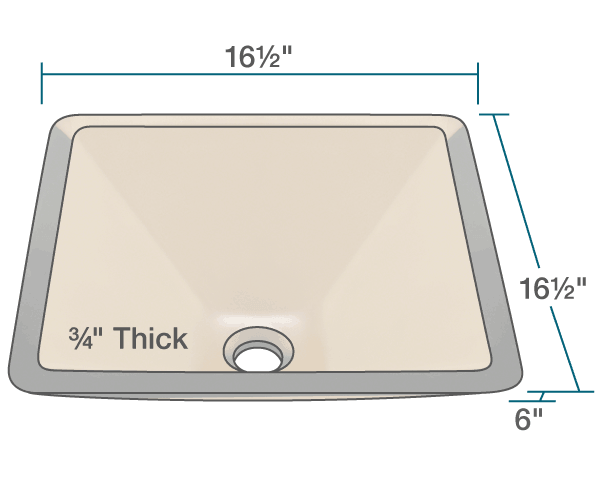 "The dimensions of 603-Taupe Colored Glass Vessel Sink is 16 1/2"" x 16 1/2"" x 6"". Its minimum cabinet size is 18""."
