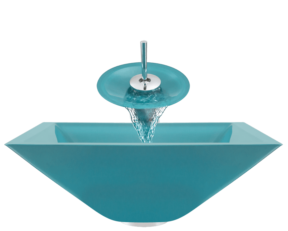 603-Turquoise Alt Image: Fully Tempered Glass /Green Vessel Square Bathroom Sink