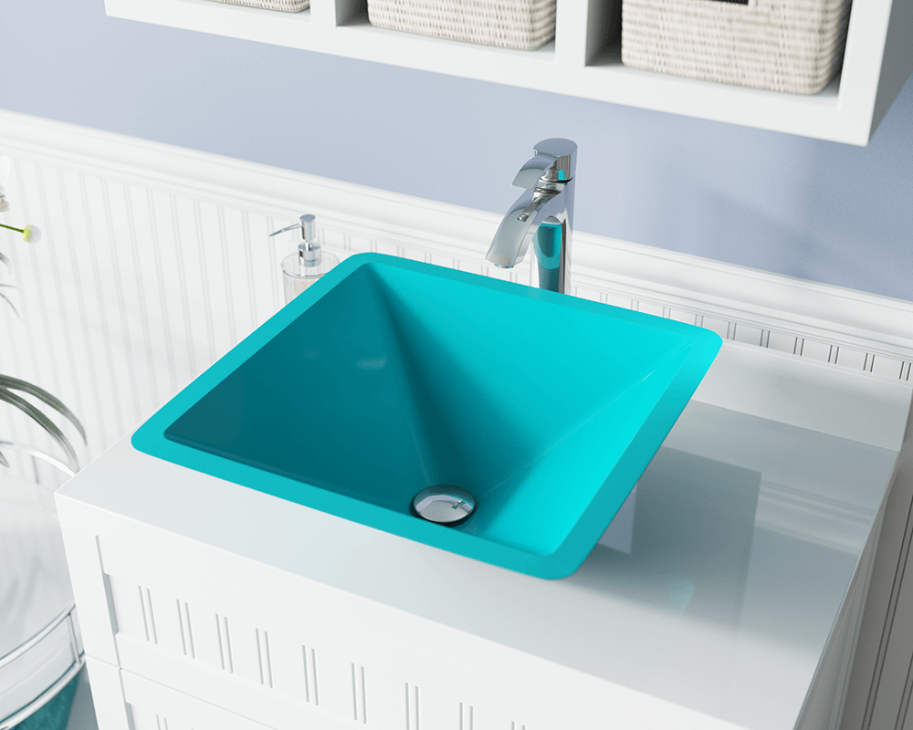 603-Turquoise Lifestyle Image: Fully Tempered Glass Square /Green Vessel Bathroom Sink