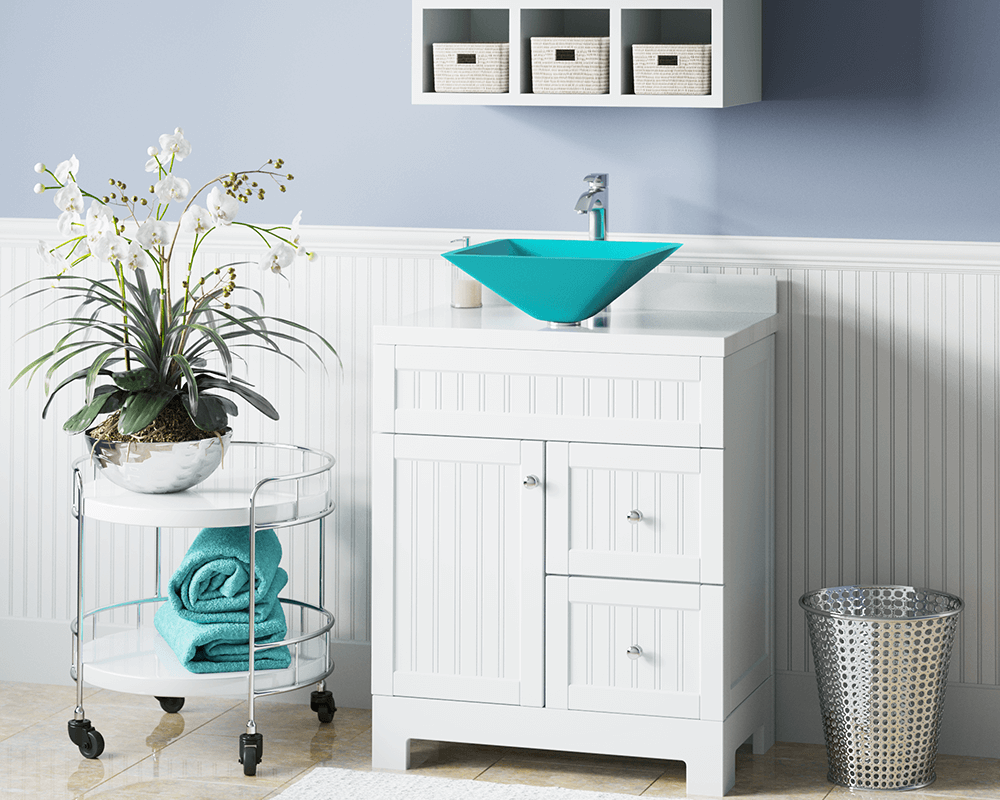 603-Turquoise Lifestyle Image: Fully Tempered Glass Square Vessel /Green Bathroom Sink