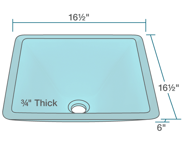 "The dimensions of 603-Turquoise Colored Glass Vessel Sink is 16 1/2"" x 16 1/2"" x 6"". Its minimum cabinet size is 18""."
