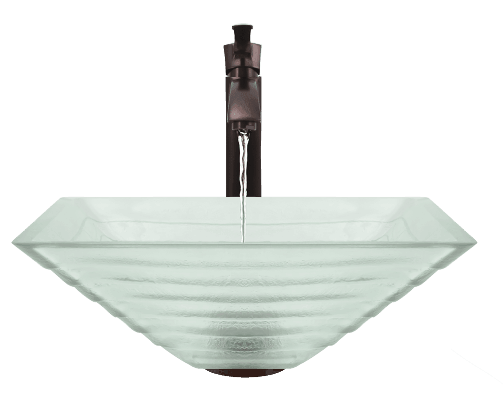 604 Alt Image: Fully Tempered Glass Vessel Frosted Square Bathroom Sink