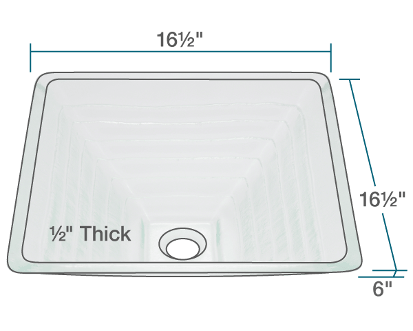 "The dimensions of 604 Glass Vessel Sink is 16 1/2"" x 16 1/2"" x 6"". Its minimum cabinet size is 18""."